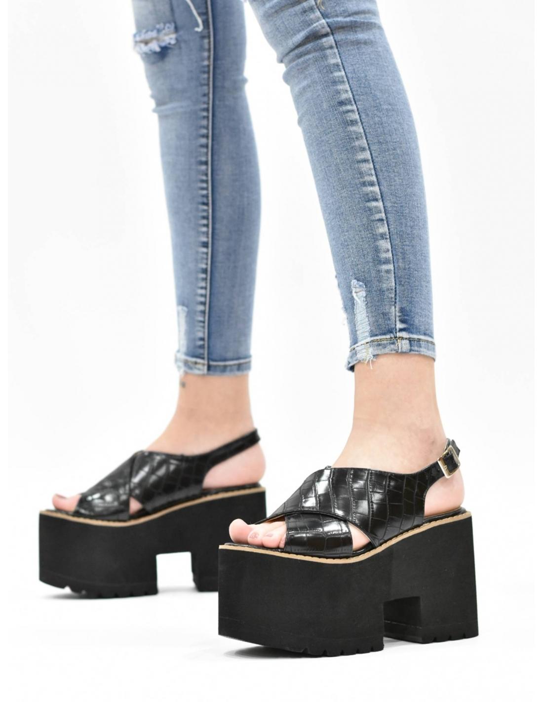 Sandalia cruzada de plataforma coco /...