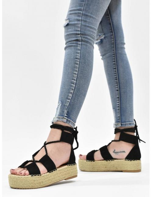 Sandalia atada negra