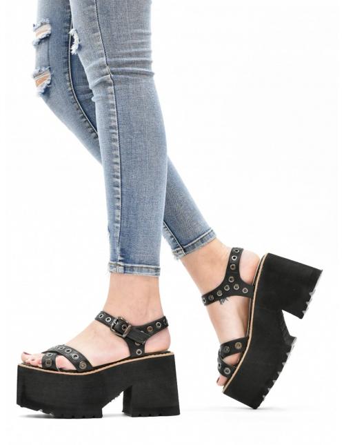 Sandalia plataforma negra /...