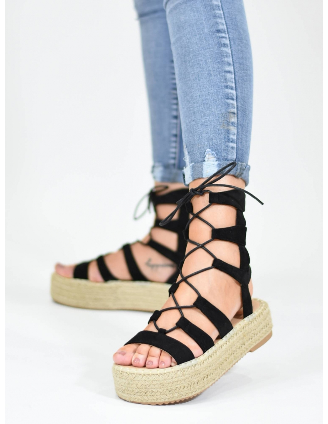 Sandalia romana negra