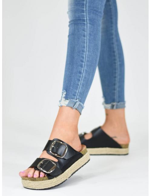 Sandalia hebillas X negra