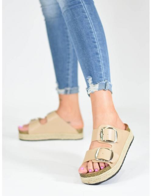 Sandalia hebillas X beige